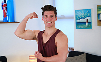 Bonus Video of Jasper's Photo Shoot - Athletic Straight Lad's Uncut Cock Explodes Big!