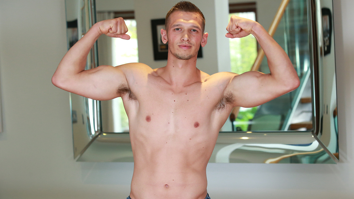 Young Straight Lad Clayton Shows off his Muscules & Big Cock & Shoots his Cum Over his Shoulder!